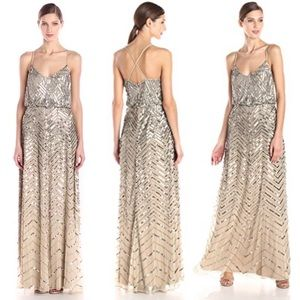 ADRIANNA PAPELL nude/silver blouson maxi dress